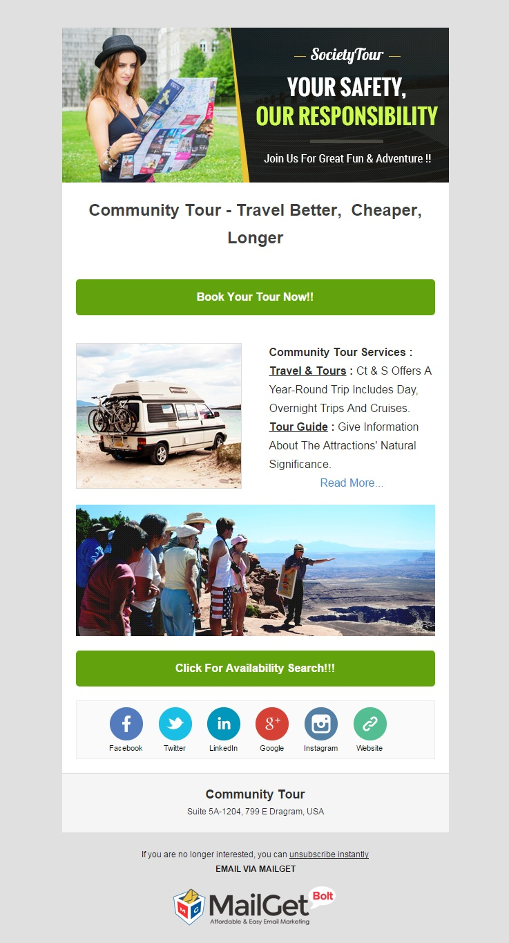 Email Marketing Service For Community Tour Organizers