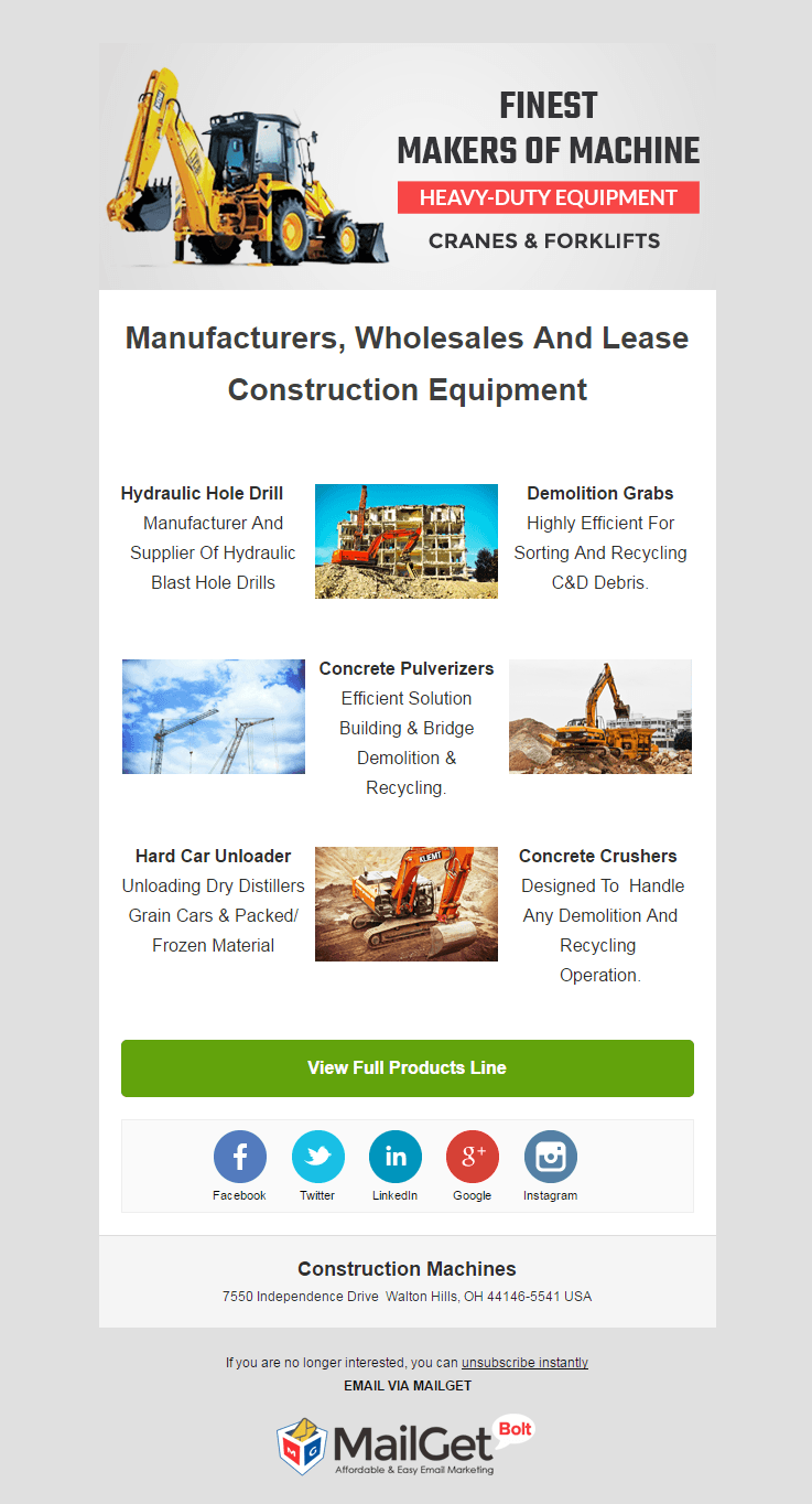 Email Marketing Service For Construction Machineries