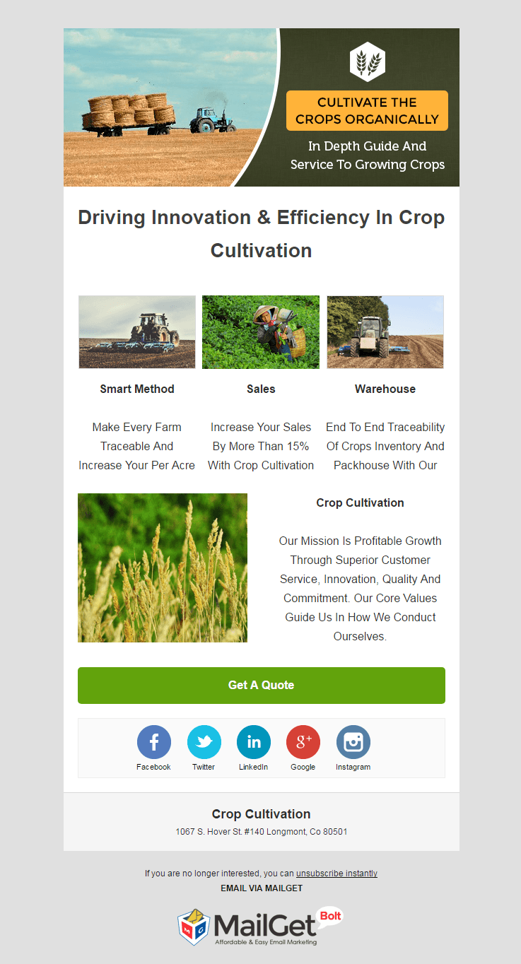 Email Marketing Service For Crop Cultivators