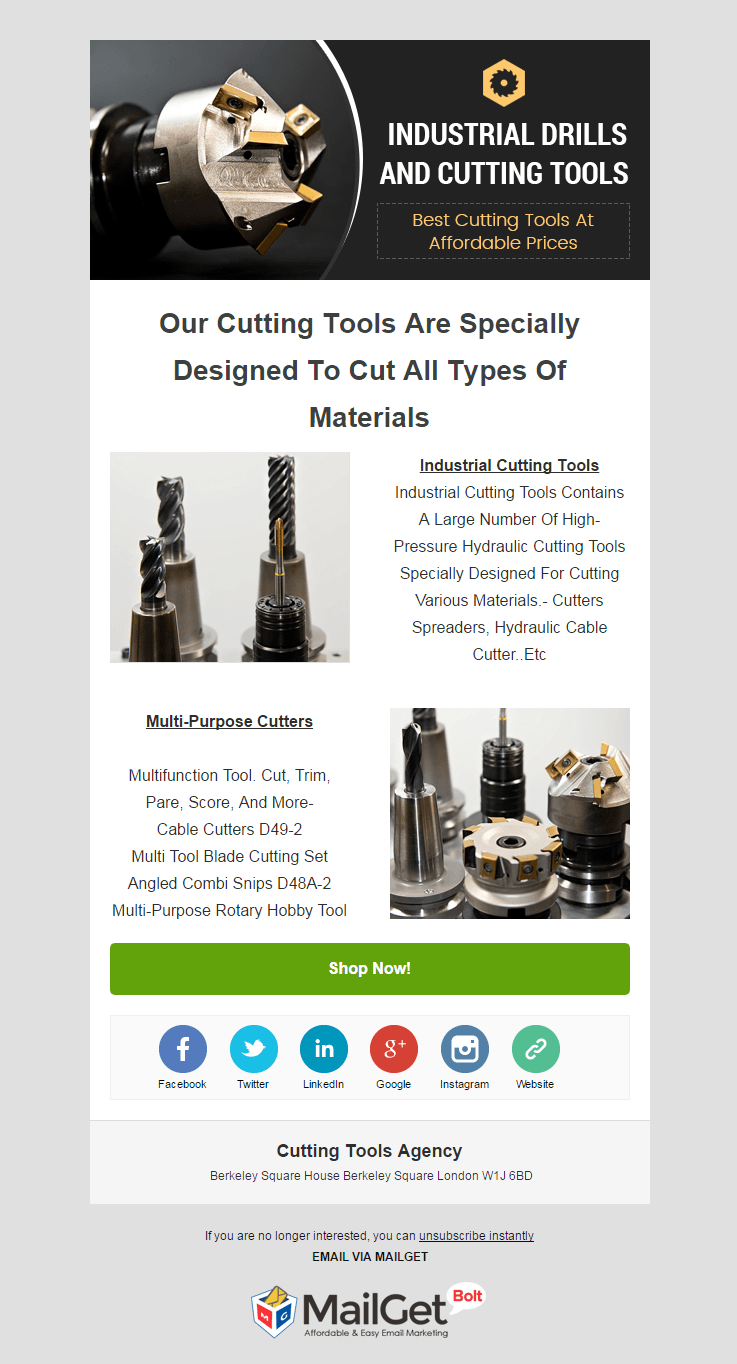 Email Marketing Service For Cutting Tool Shops