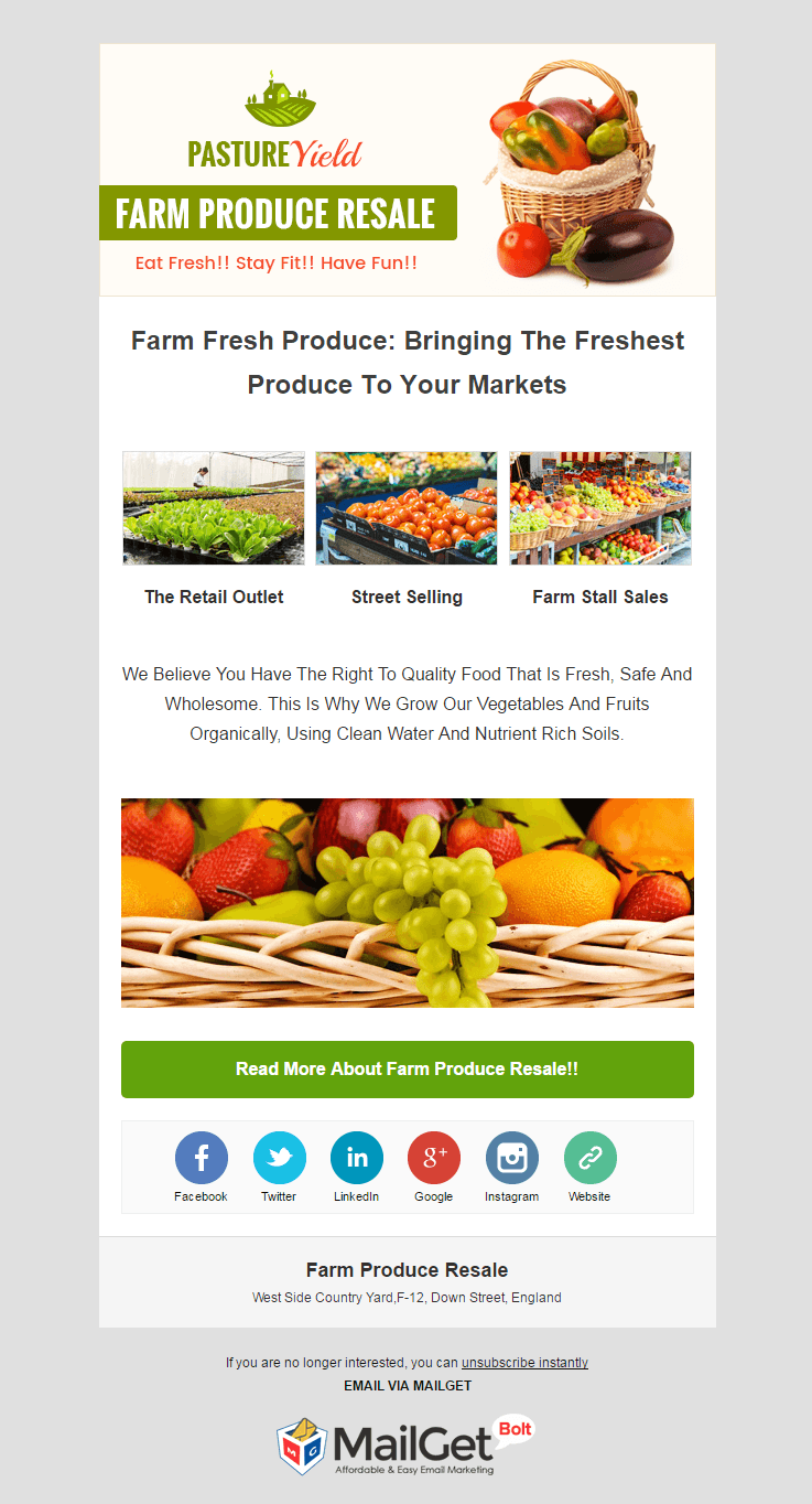 Email Marketing Service For Farm Produce Resale