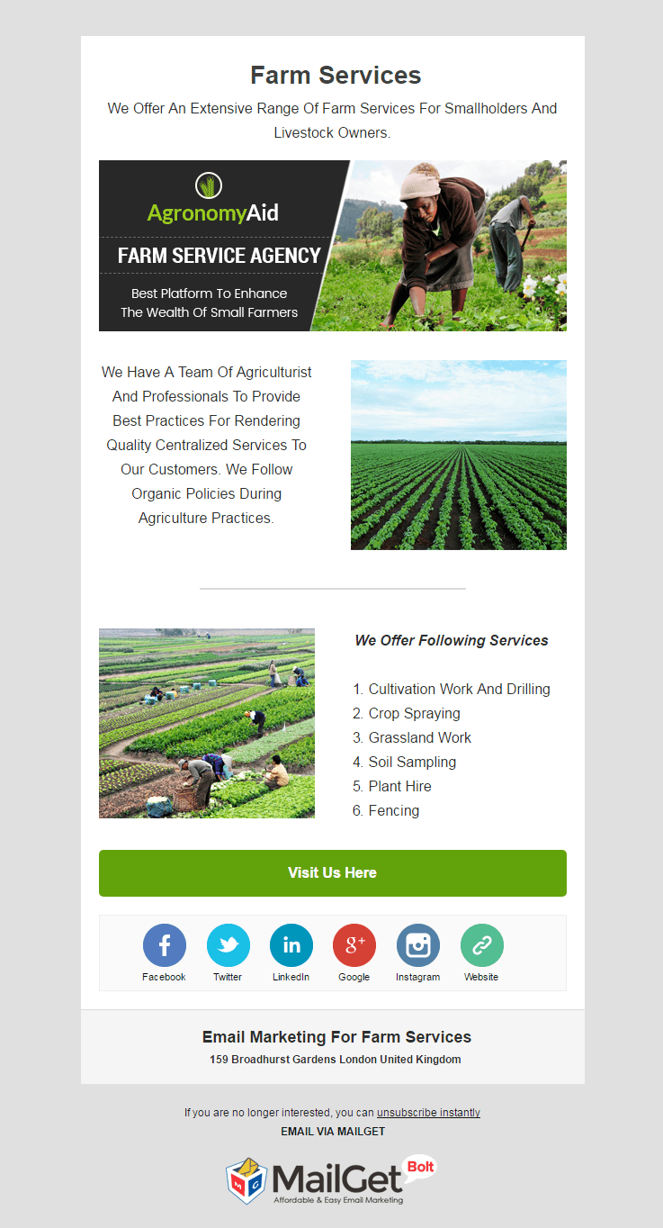 Email Marketing Service For Farming Solutions