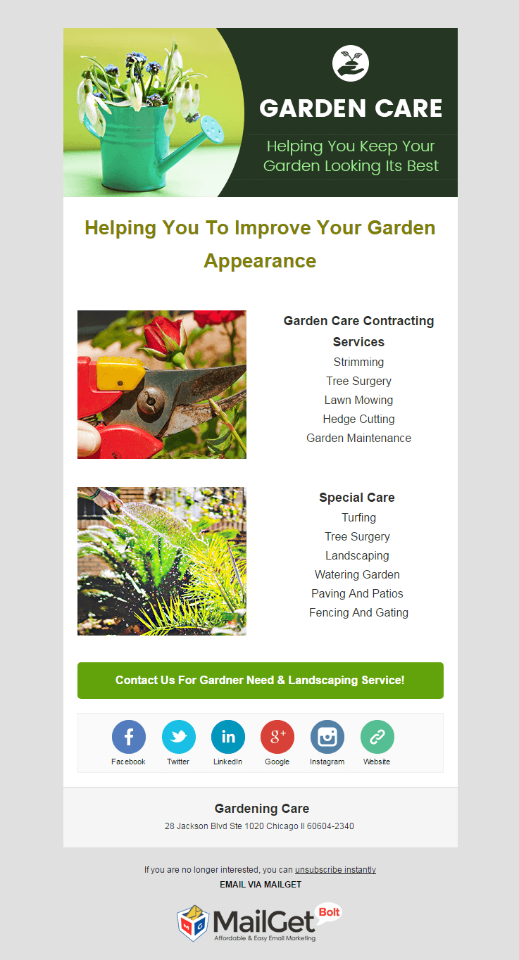 Email Marketing Service For Gardening Care
