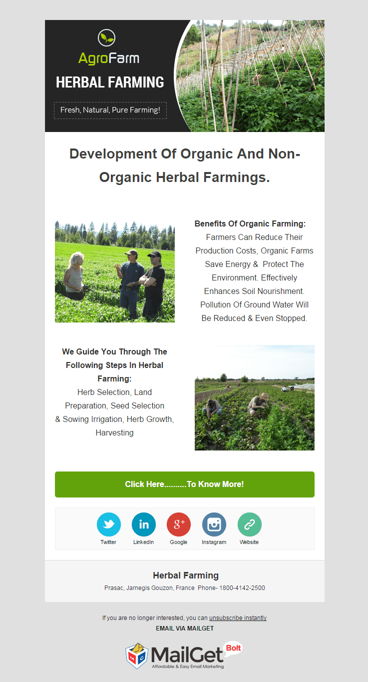 Email Marketing Service For Herbal Farming Agencies