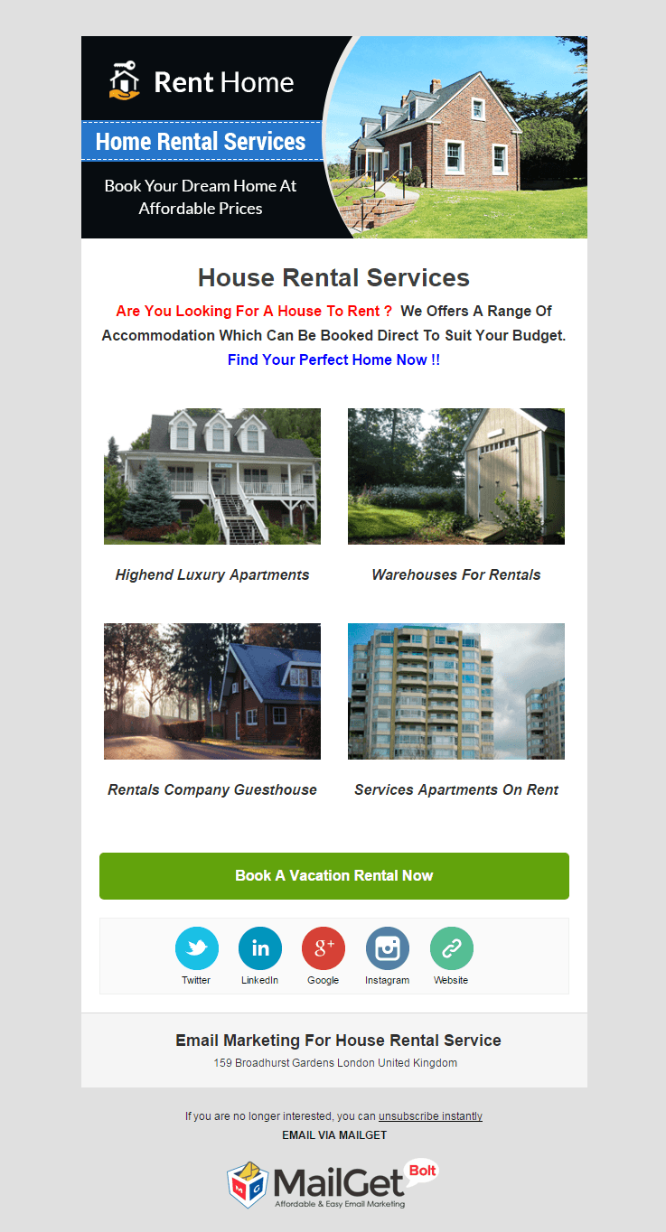 Email Marketing Service For House Rental Agencies