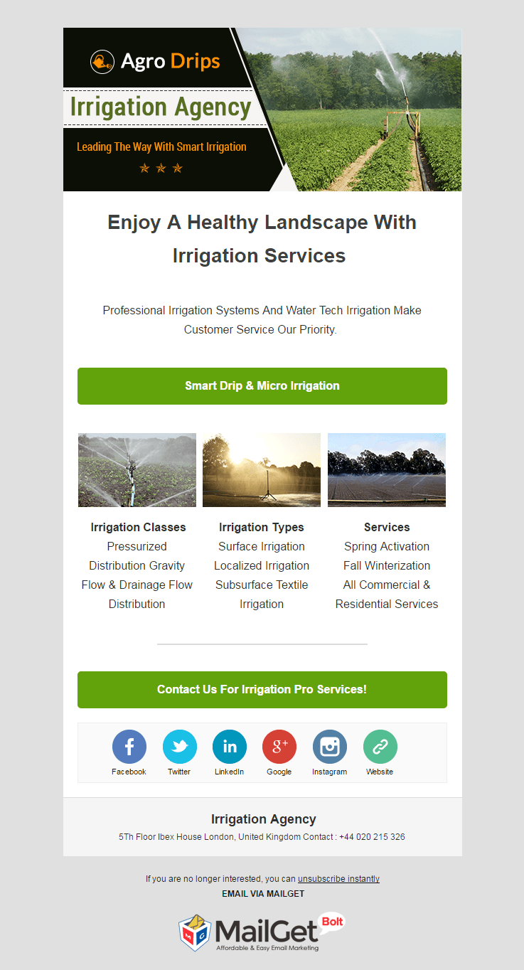 Email Marketing Service For Irrigation Agencies