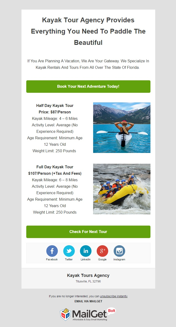 Email Marketing Service For Kayak Tour Agencies