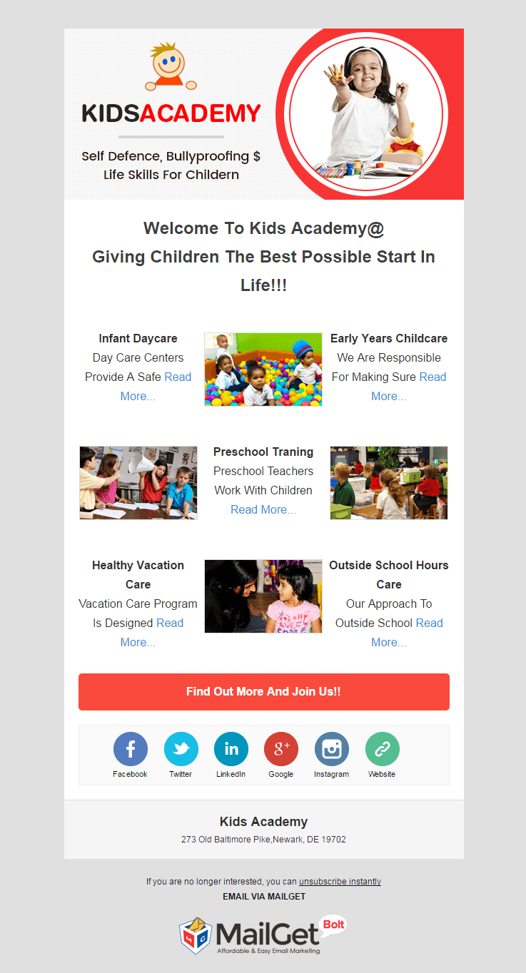 Email Marketing Service For Kids Academy