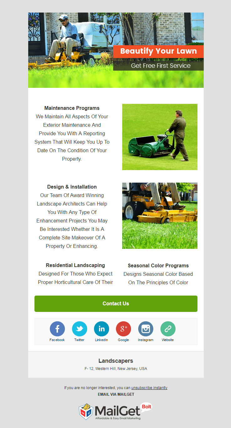 Email Marketing Service For Landscapers