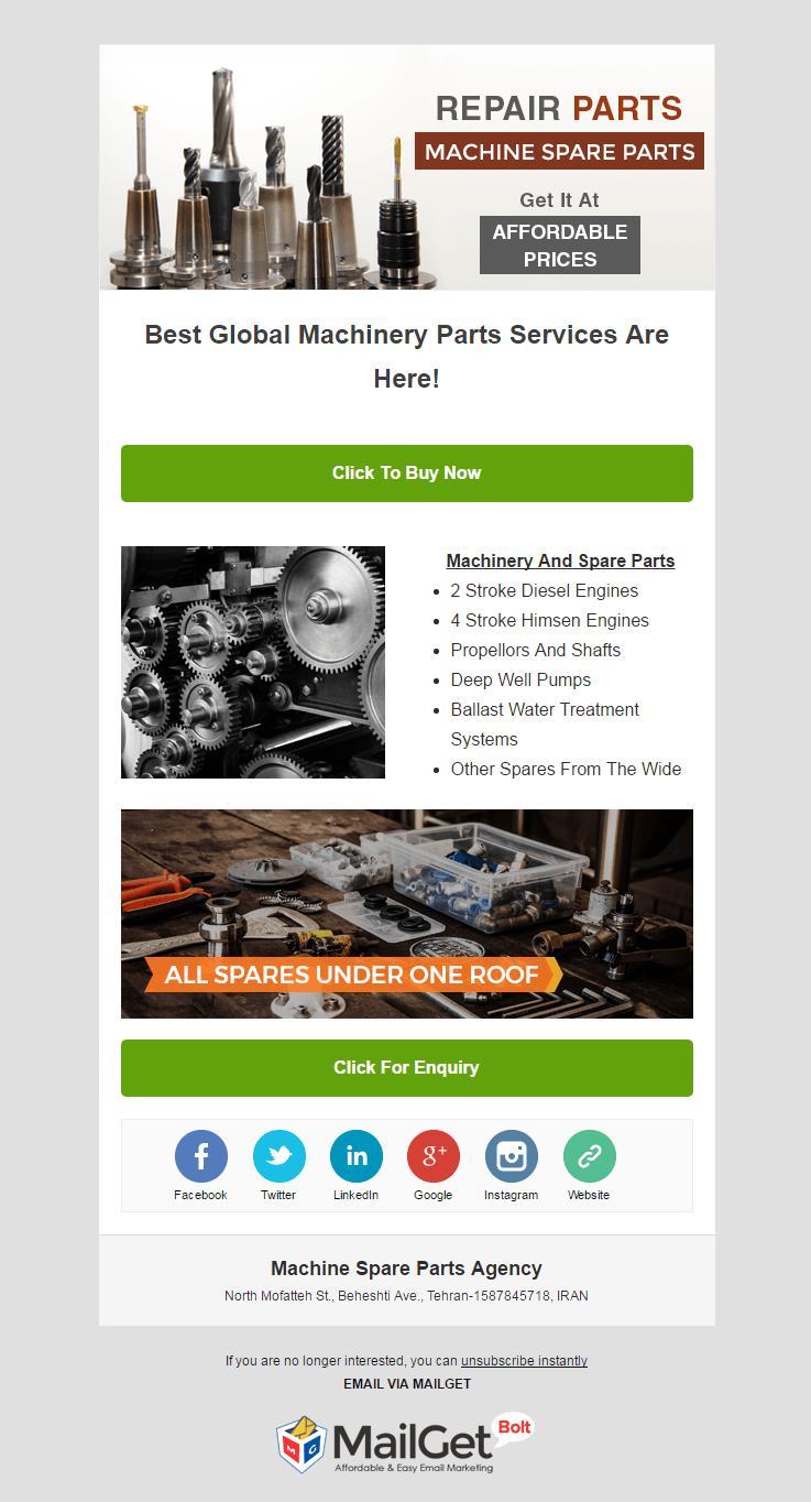 Email Marketing Service For Machine Spare Part Dealers