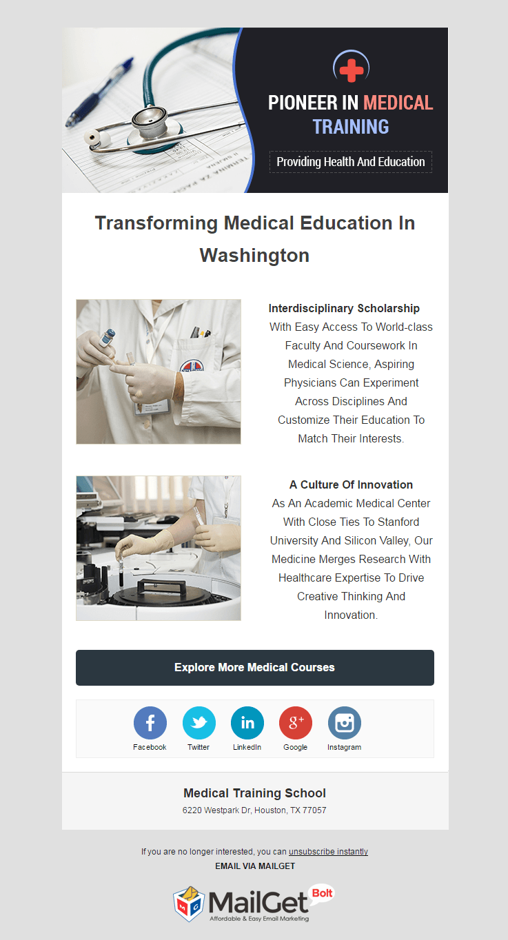 Email Marketing Service For Medical Training Schools