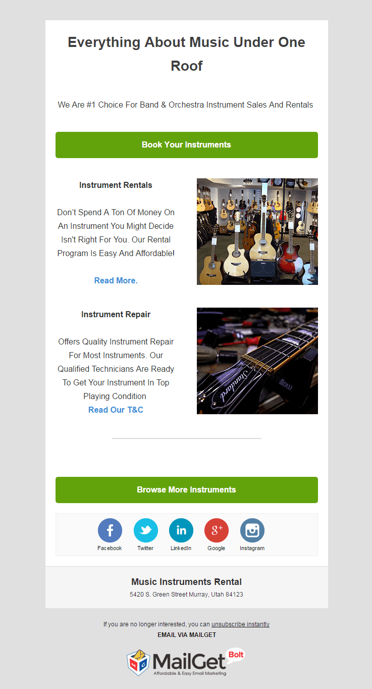 Email Marketing Service For Music Instruments Rental Shops