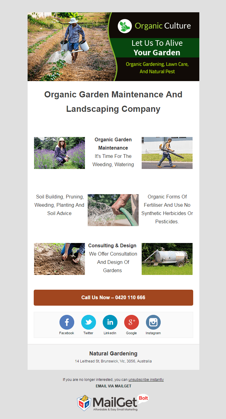 Email Marketing Service For Natural Gardeners