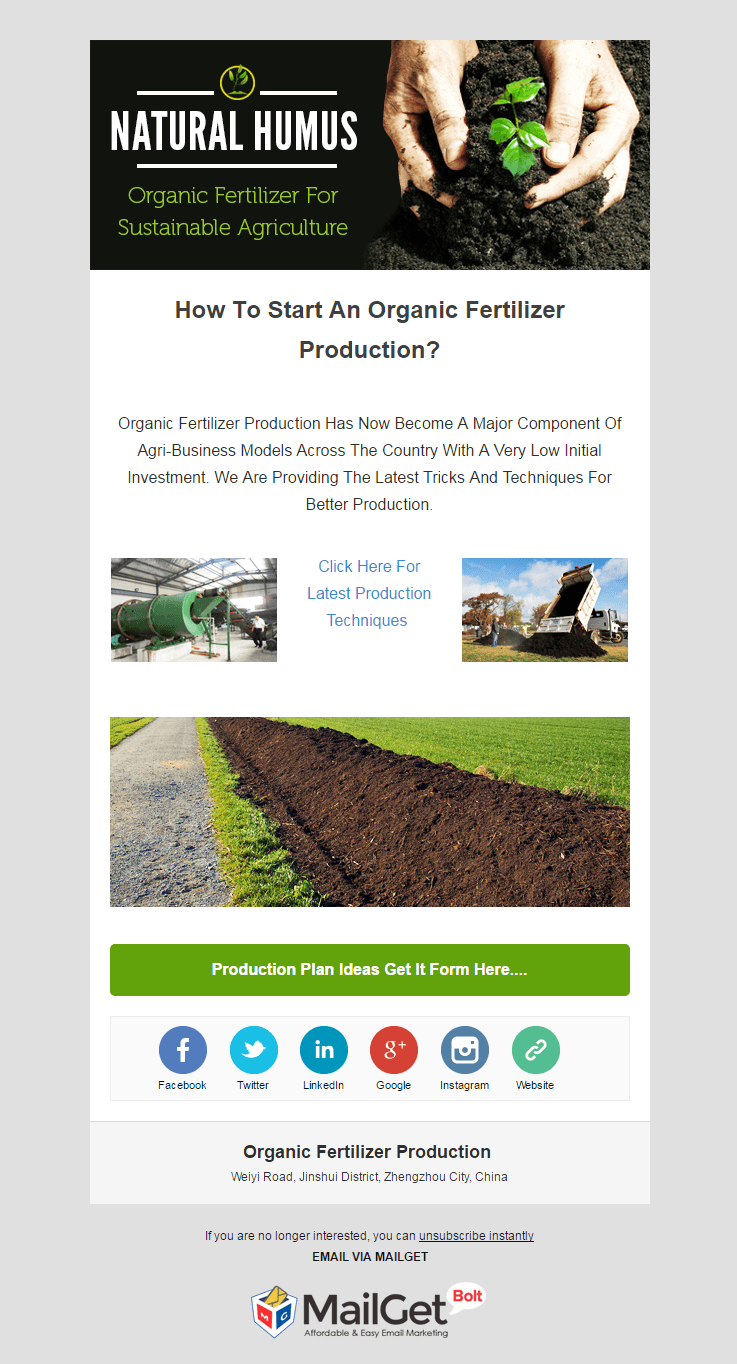 Email Marketing Service For Organic Fertilizers Producer