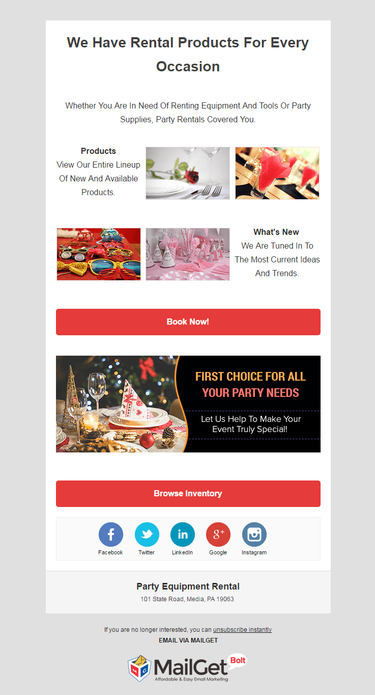 Email Marketing Service For Party Equipment Rental Shops