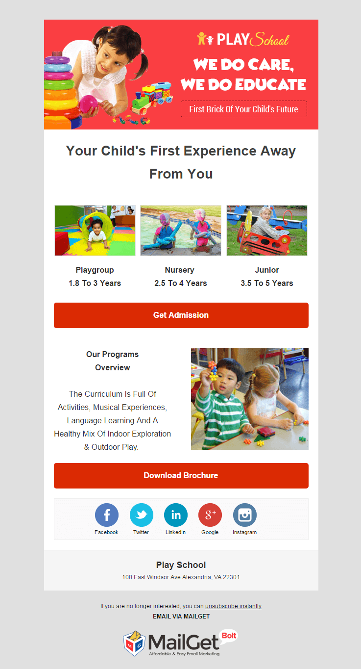 Email Marketing Service For Play Schools