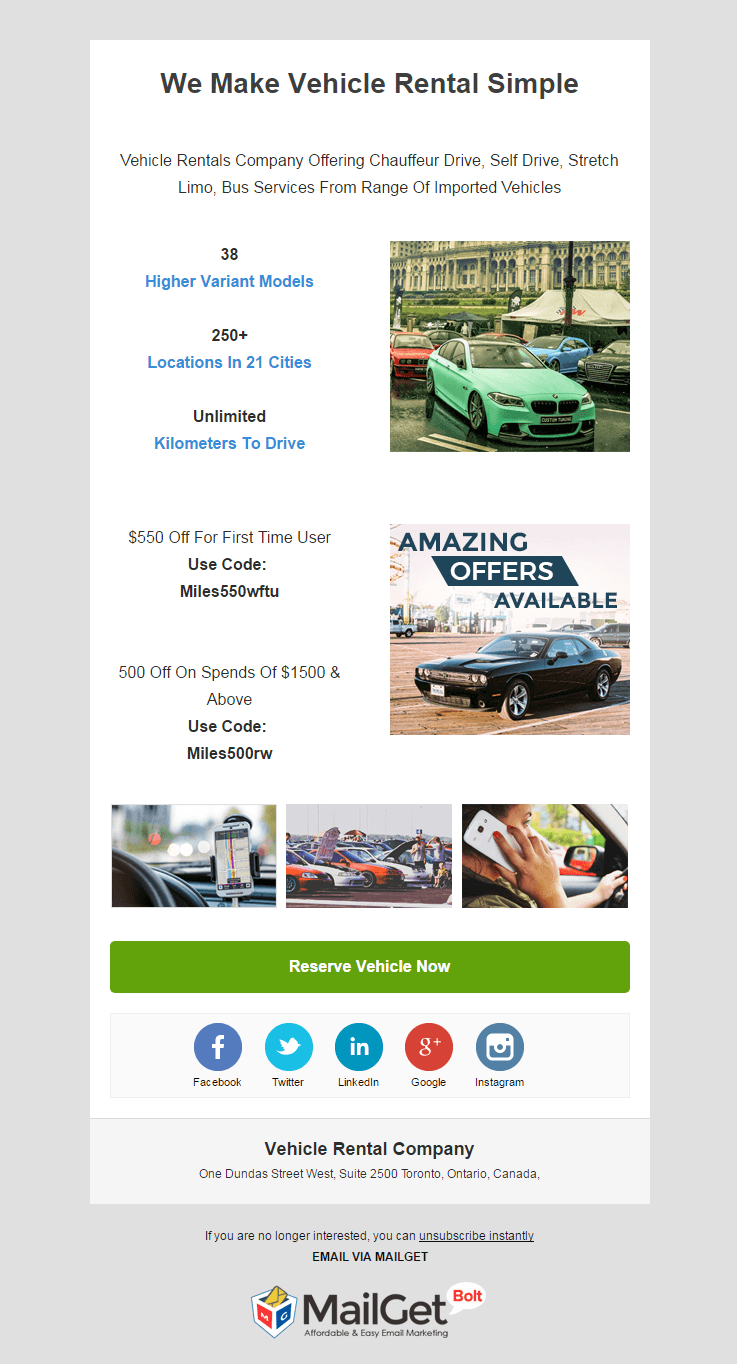 Email Marketing Service For Rental Vehicles