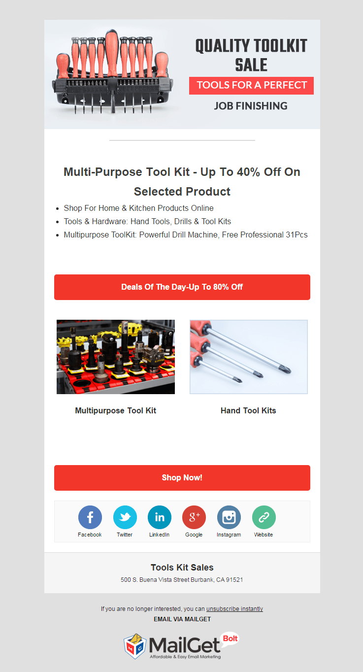 Email Marketing Service For Tool Kits Sale