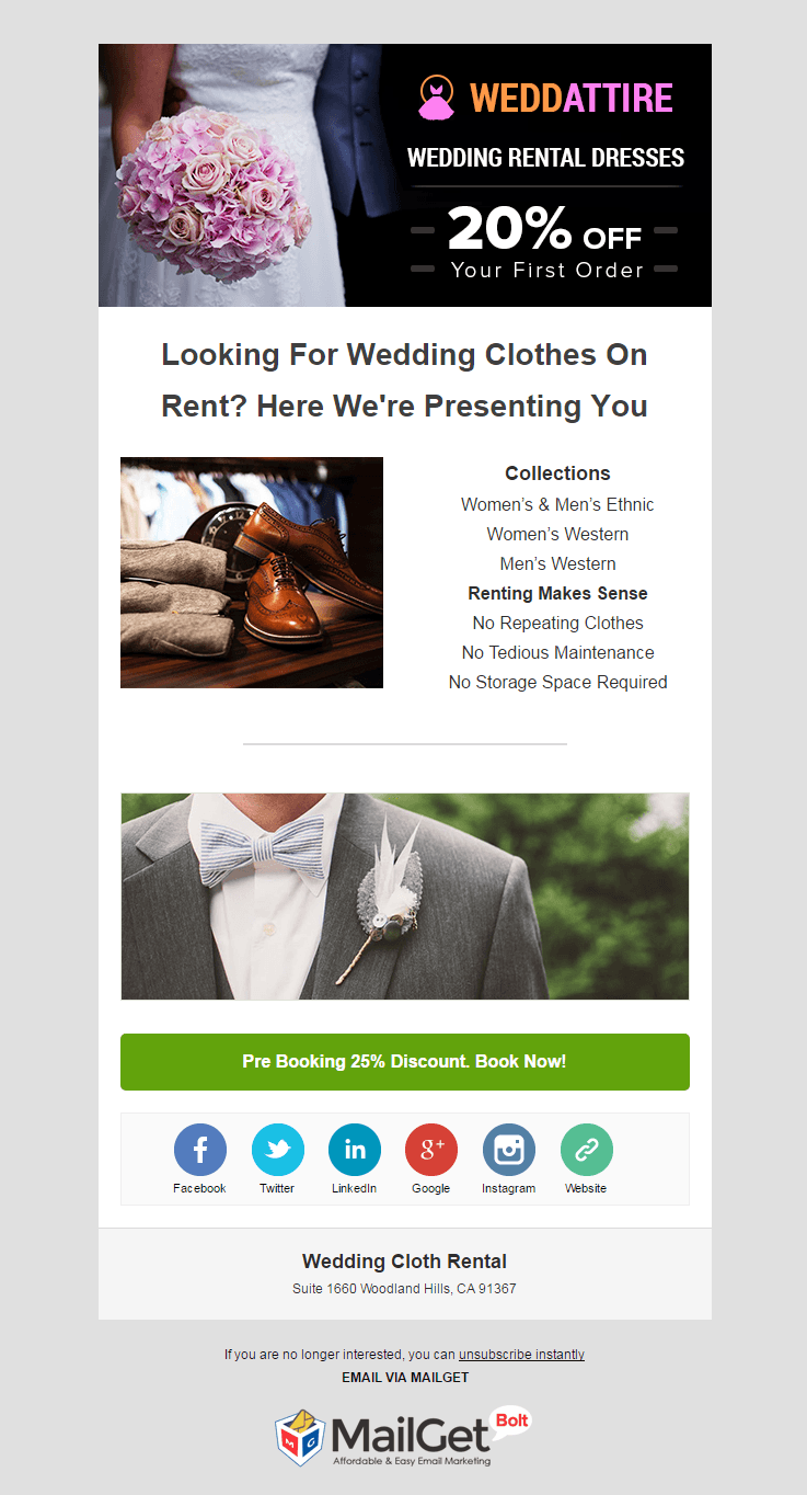 Email Marketing Service For Wedding Dress Rental Stores