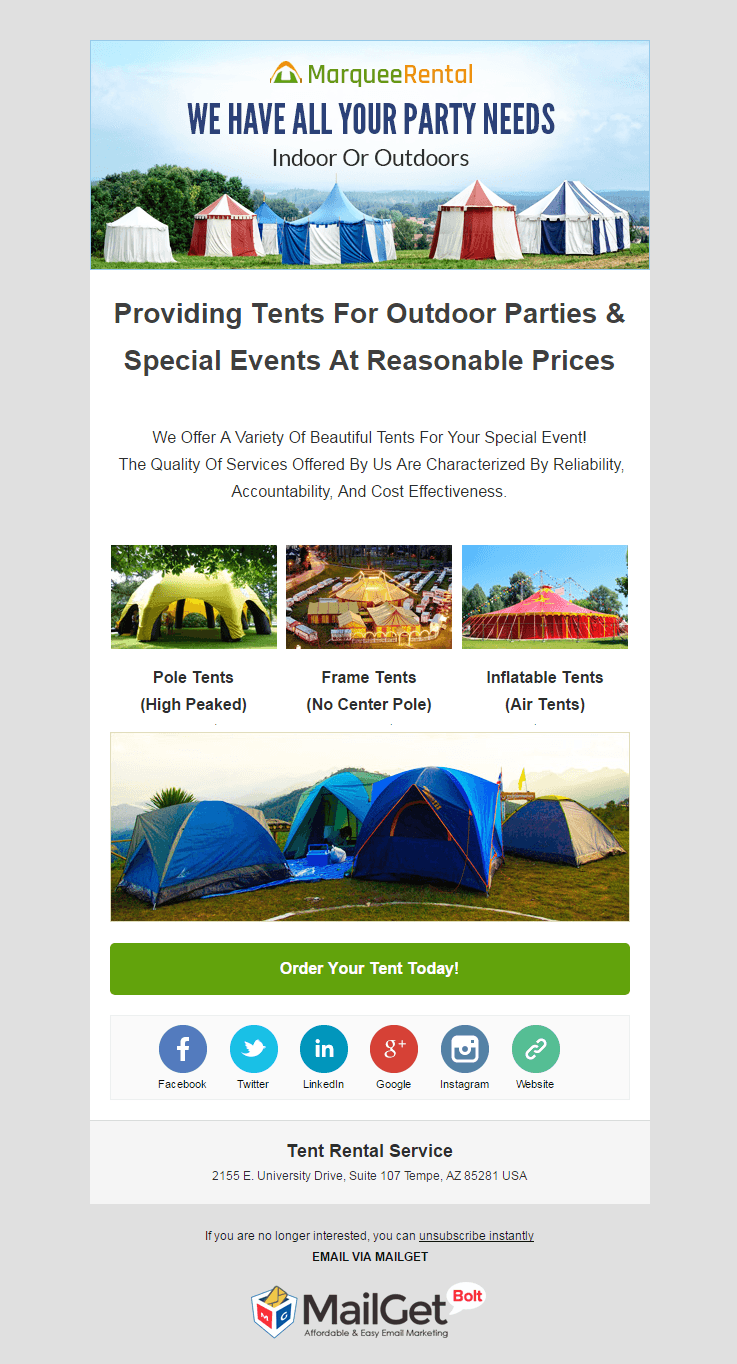 Email Marketing Software For Tent Rental Firms