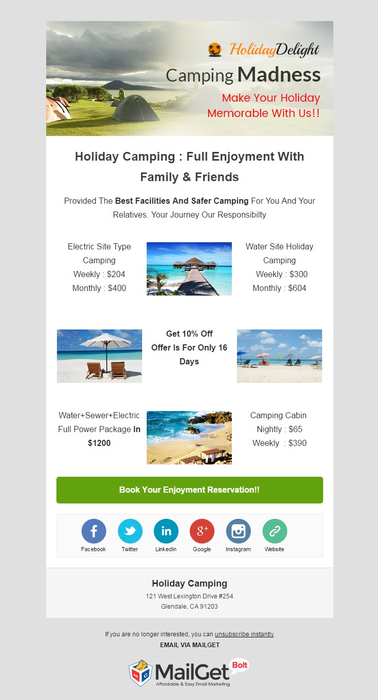 Email Marketing Tool For Holiday Camping Organizers