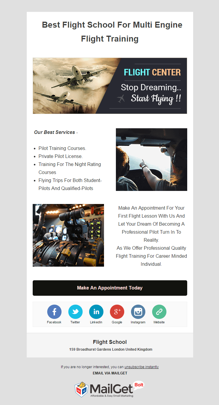 Flight Training Email Marketing Service