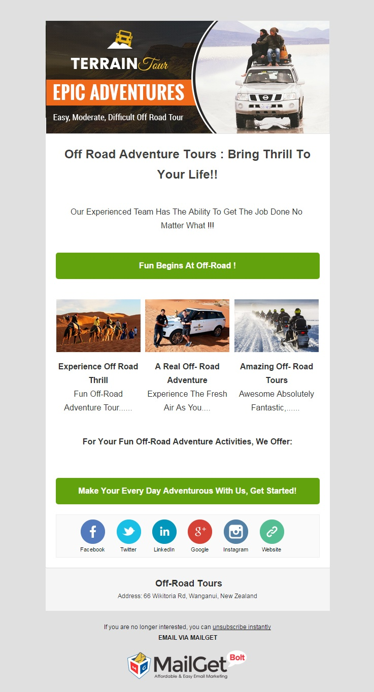 Off Road Tours Email Templates