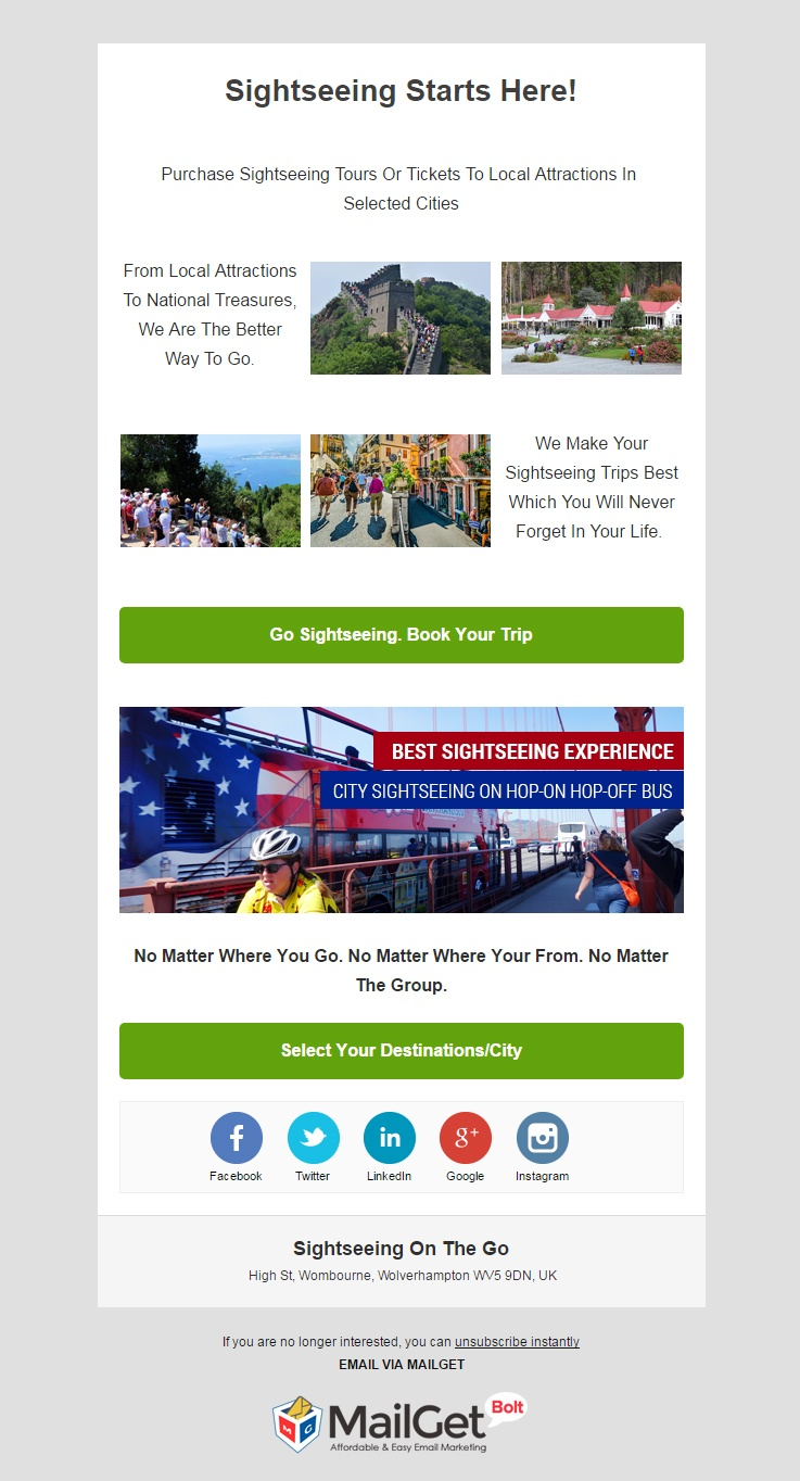 Sightseeing on the go Email Templates