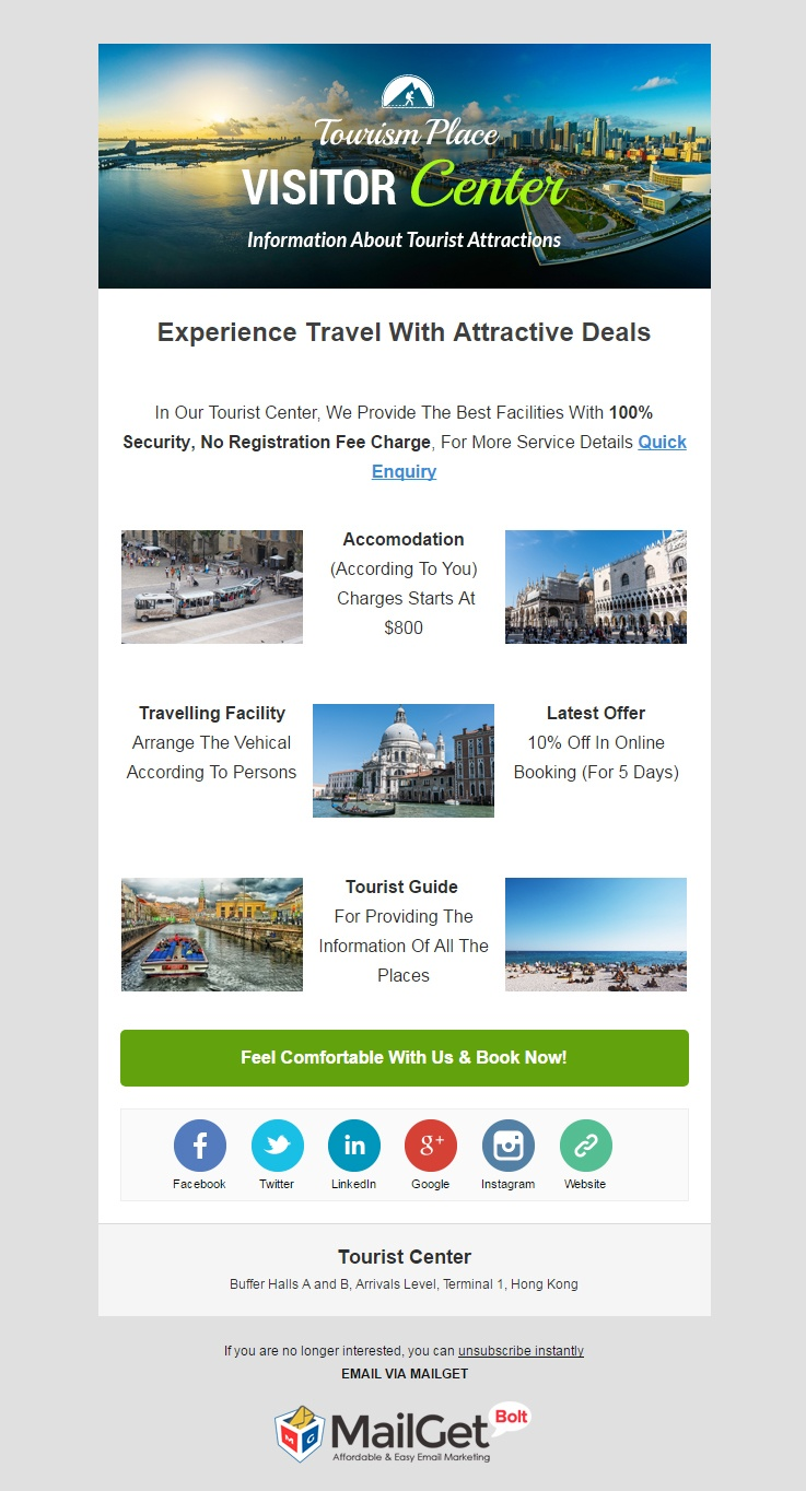 Tourist Center Email Templates