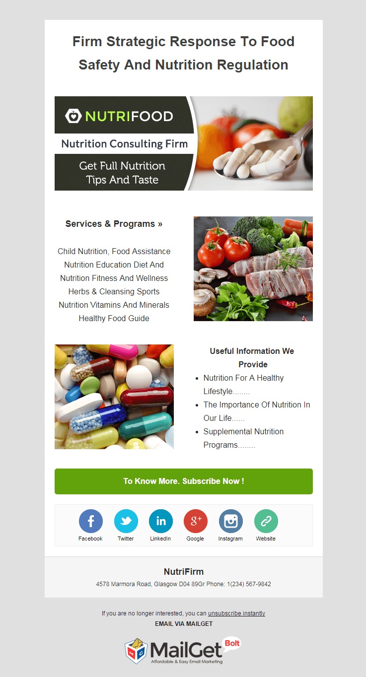 Email Marketing Service For Nutrition Firms