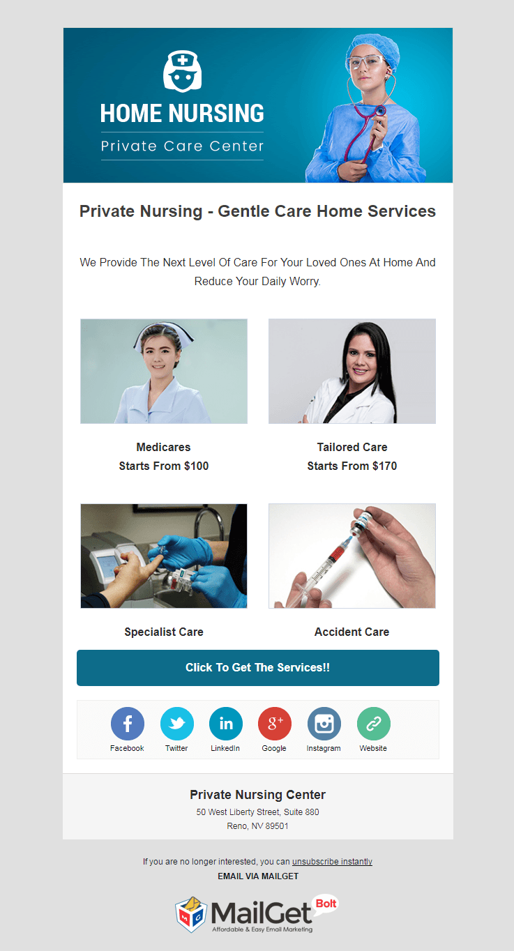 Email Marketing Service For Private Nursing Centers