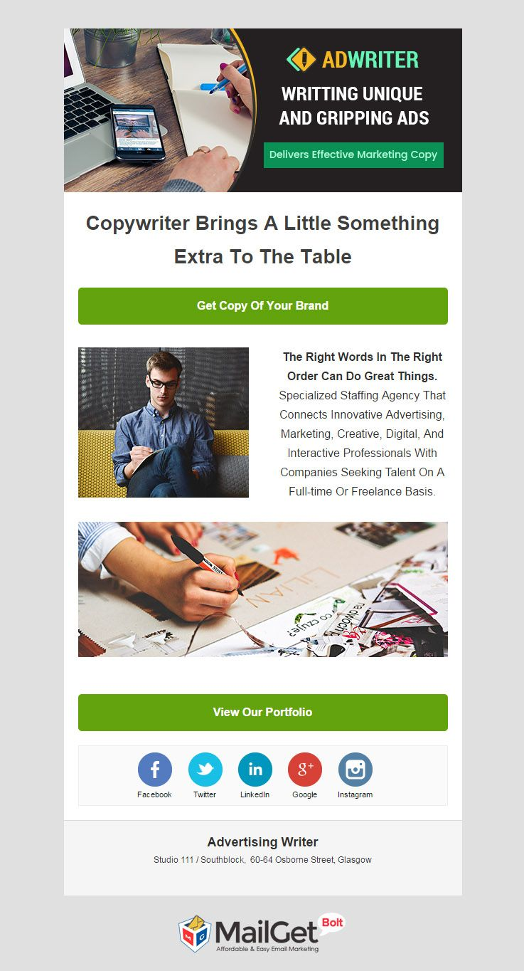 Email Template For Advertising Writer