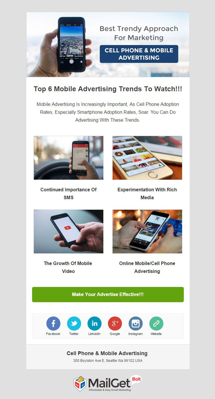 Email Template For Cell Phone Advertising