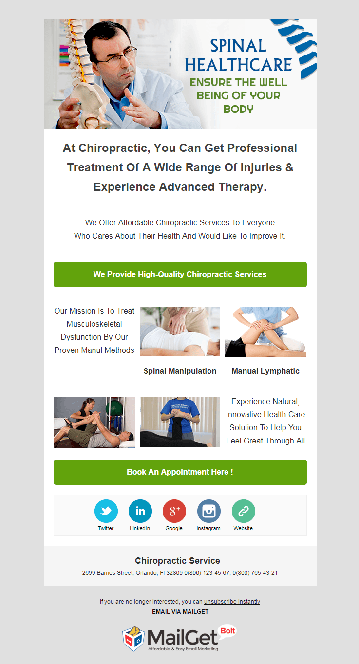 Email Template For Chiropractors