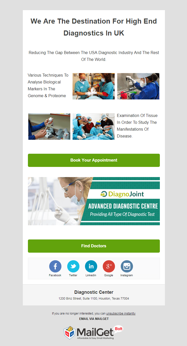 Email Template For Diagnostic Centers