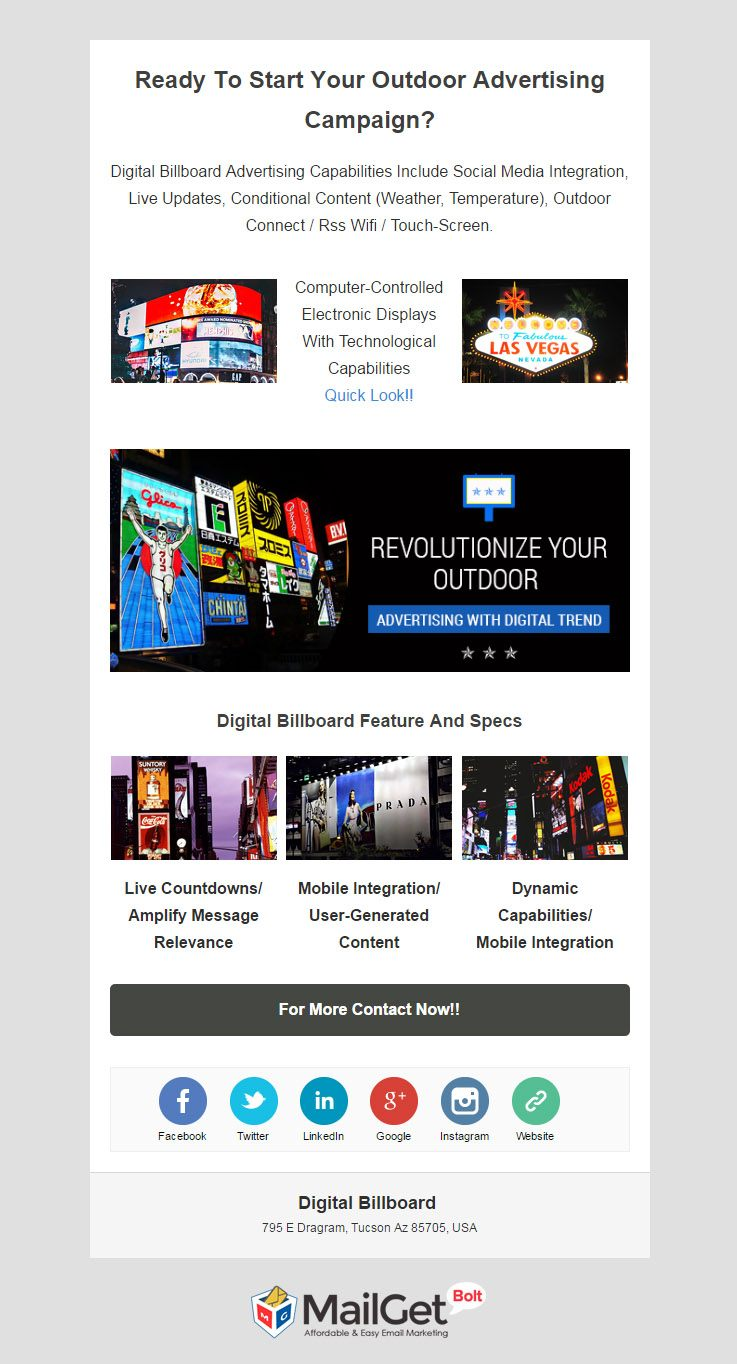 Email Template For Digital Billboard