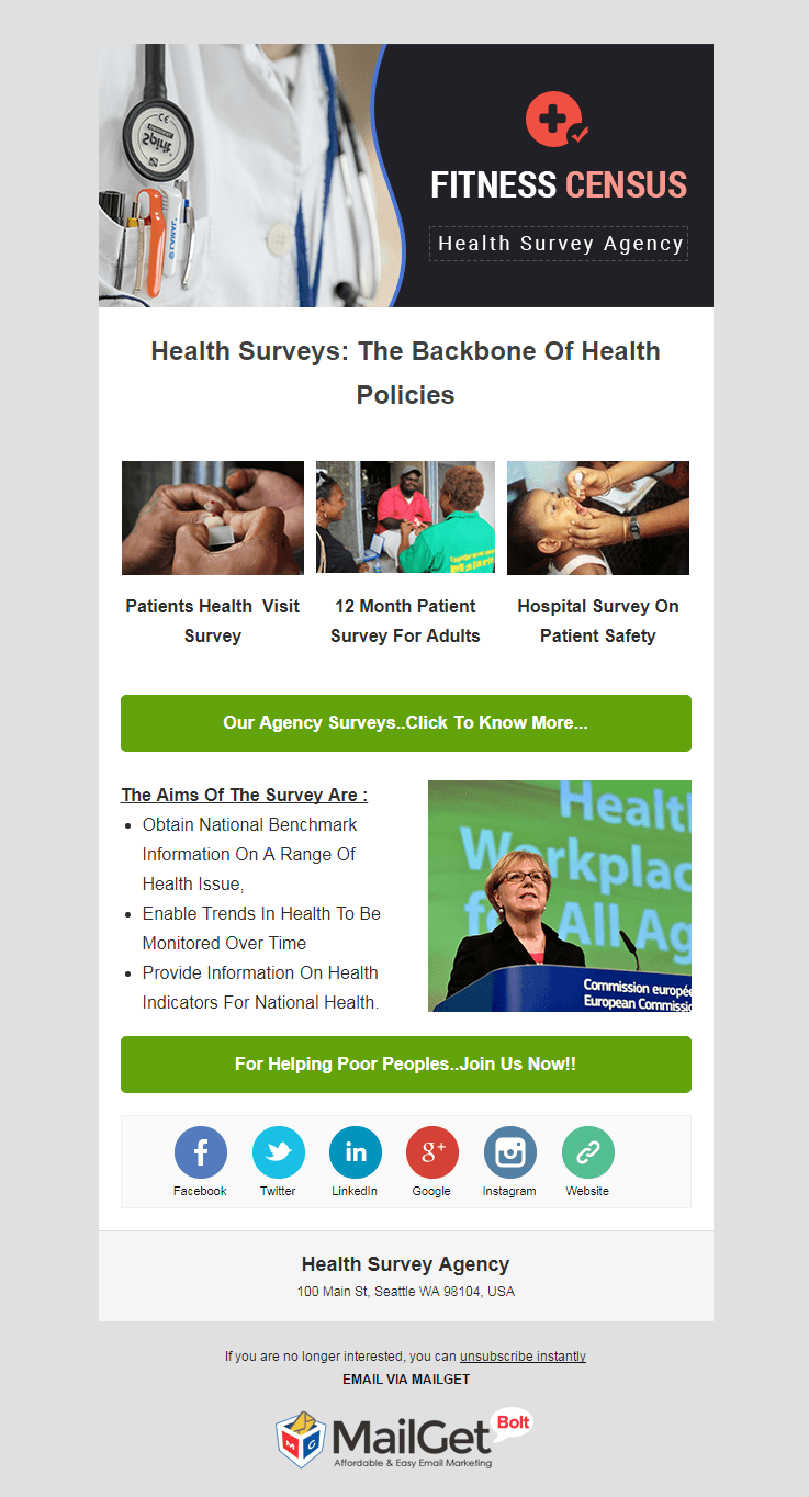 Email Template For Health Survey Firms