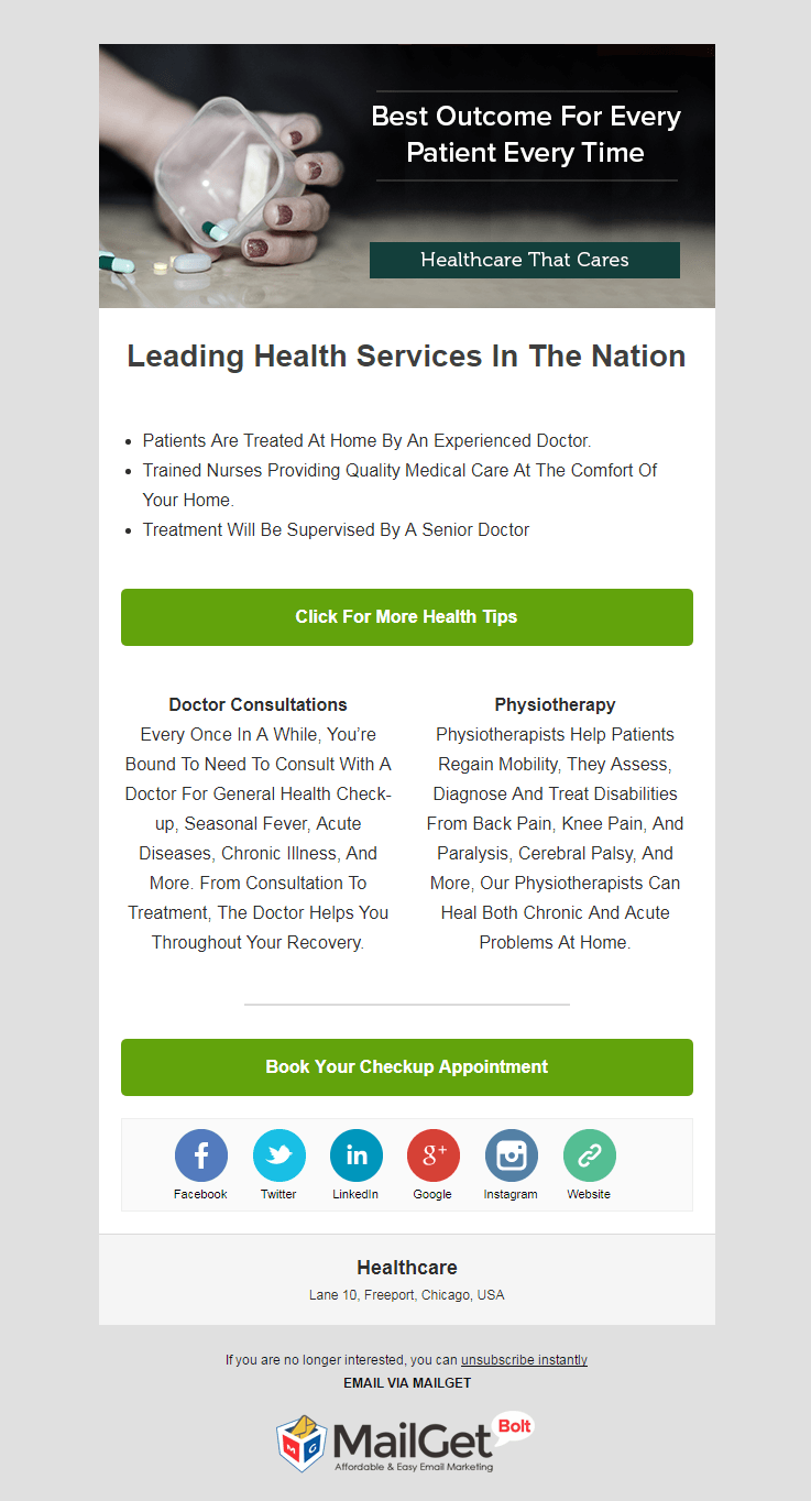 Email Template For Healthcare Centers