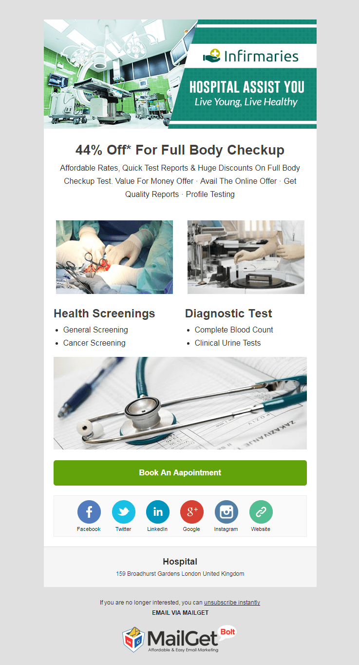 Email Template For Medical Centers