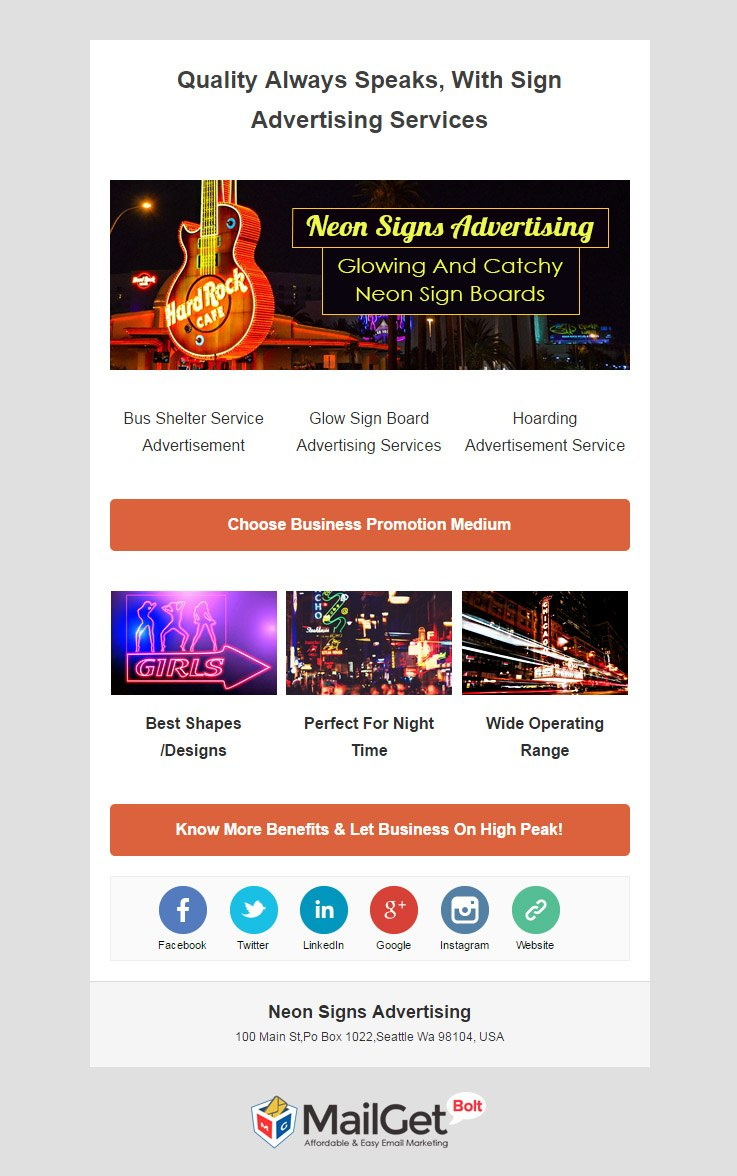 Email Template For Neon Signs