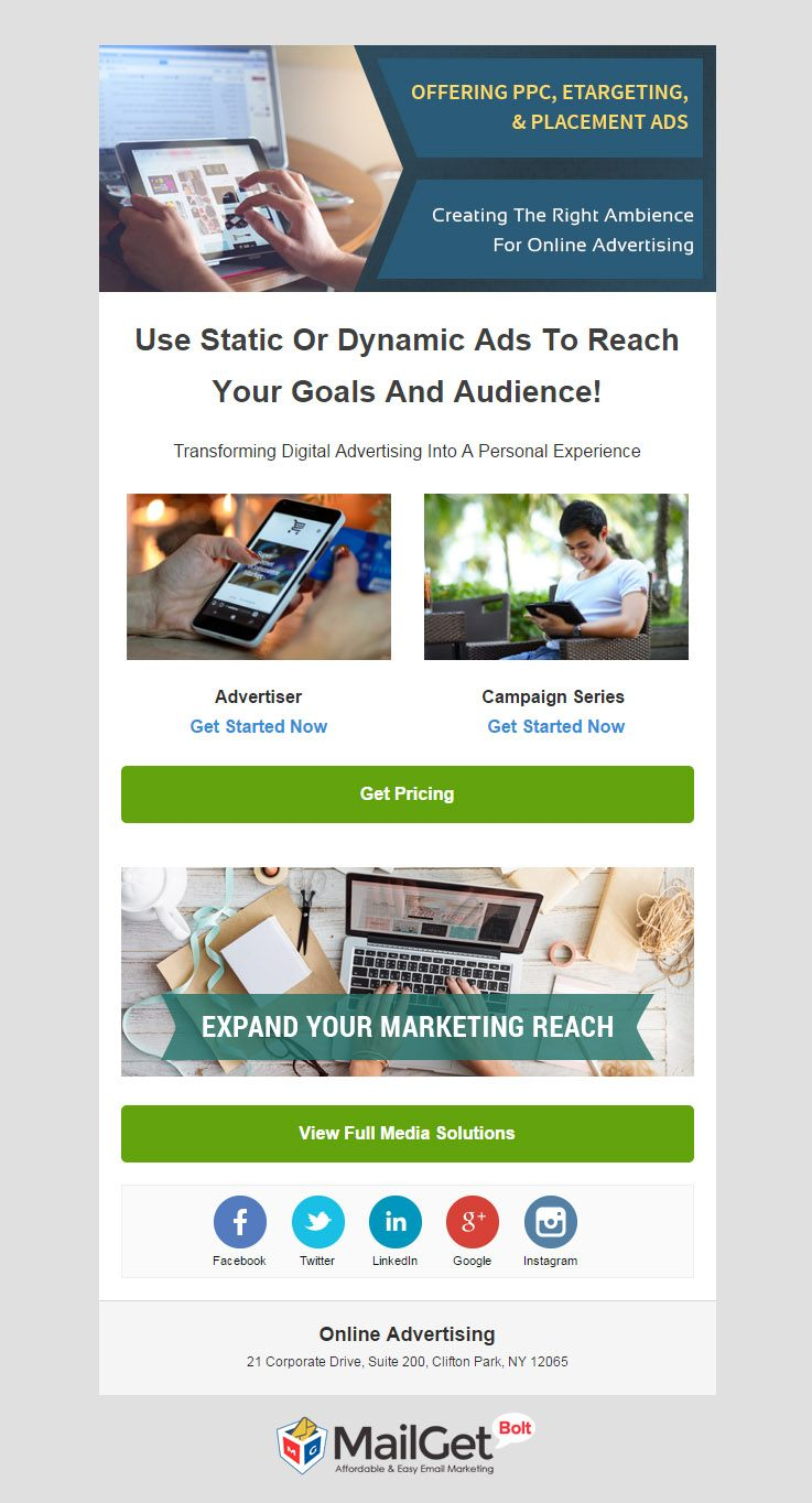 Email Template For Online Advertising