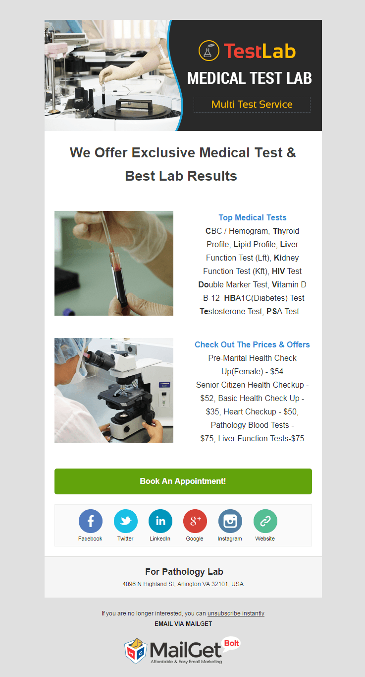 Email Template For Pathology Labs