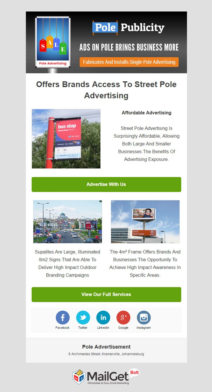 Email Template For Pole Advertisement