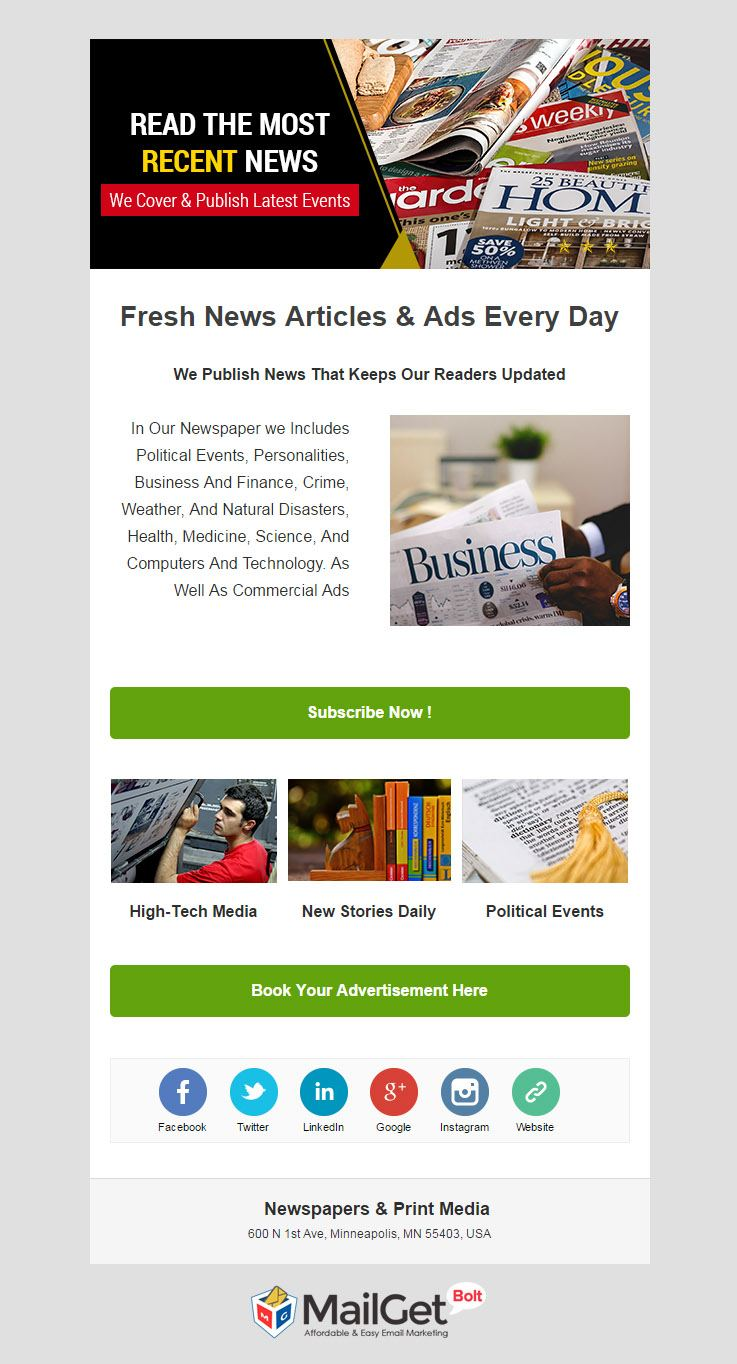 Email Template For Print Media
