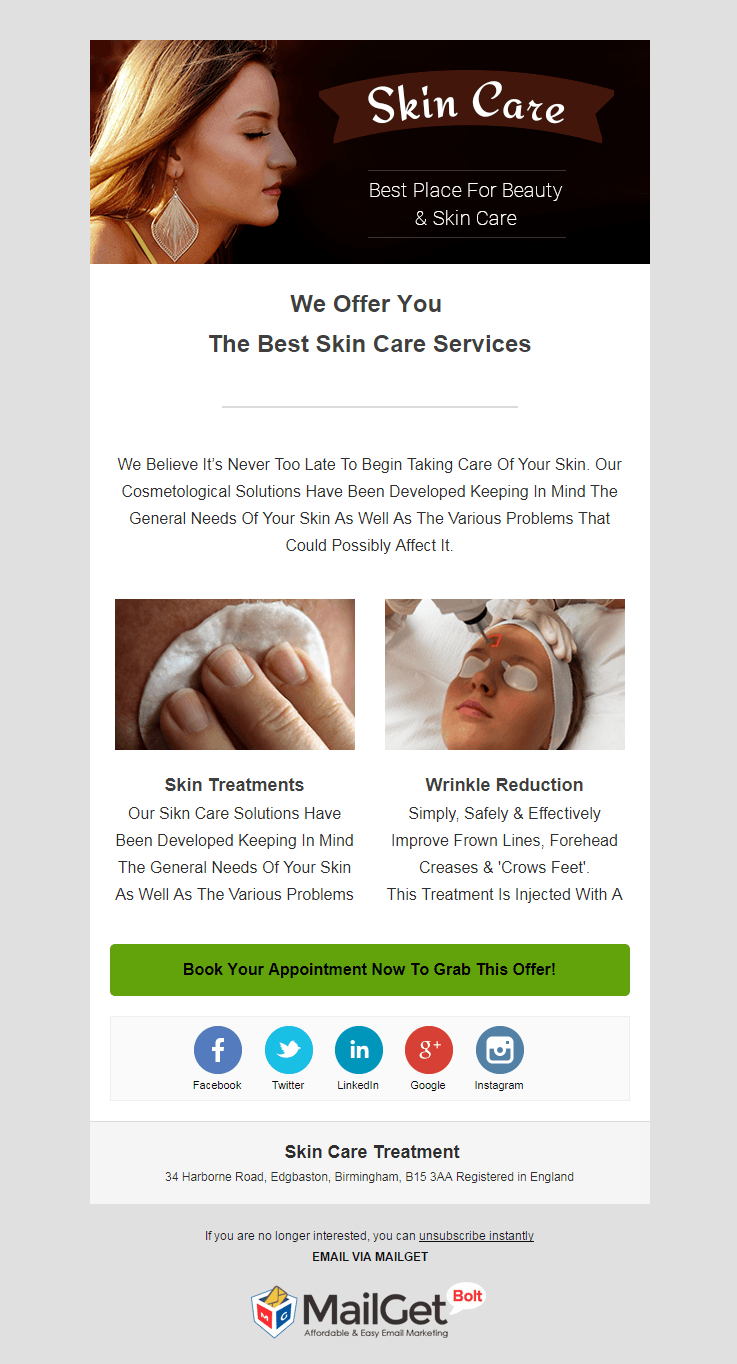 Email Template For Skin Care Clinics
