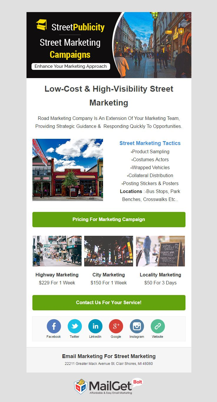 Email Template For Street Advertising