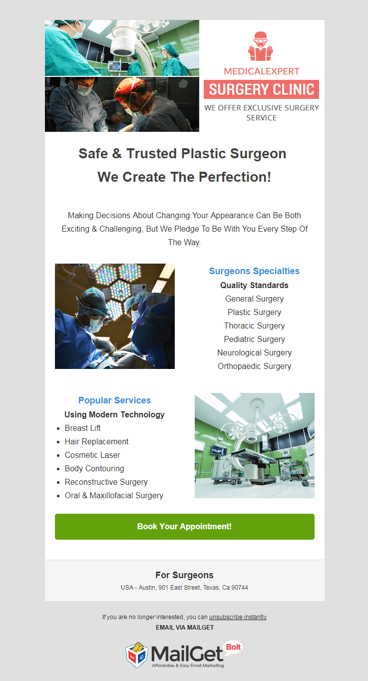 Email Template For Surgeons