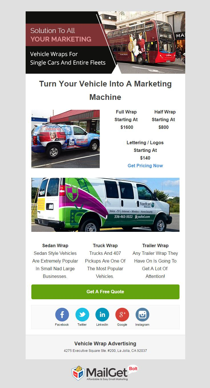 Email Template For Vehicle Wrap Advertising