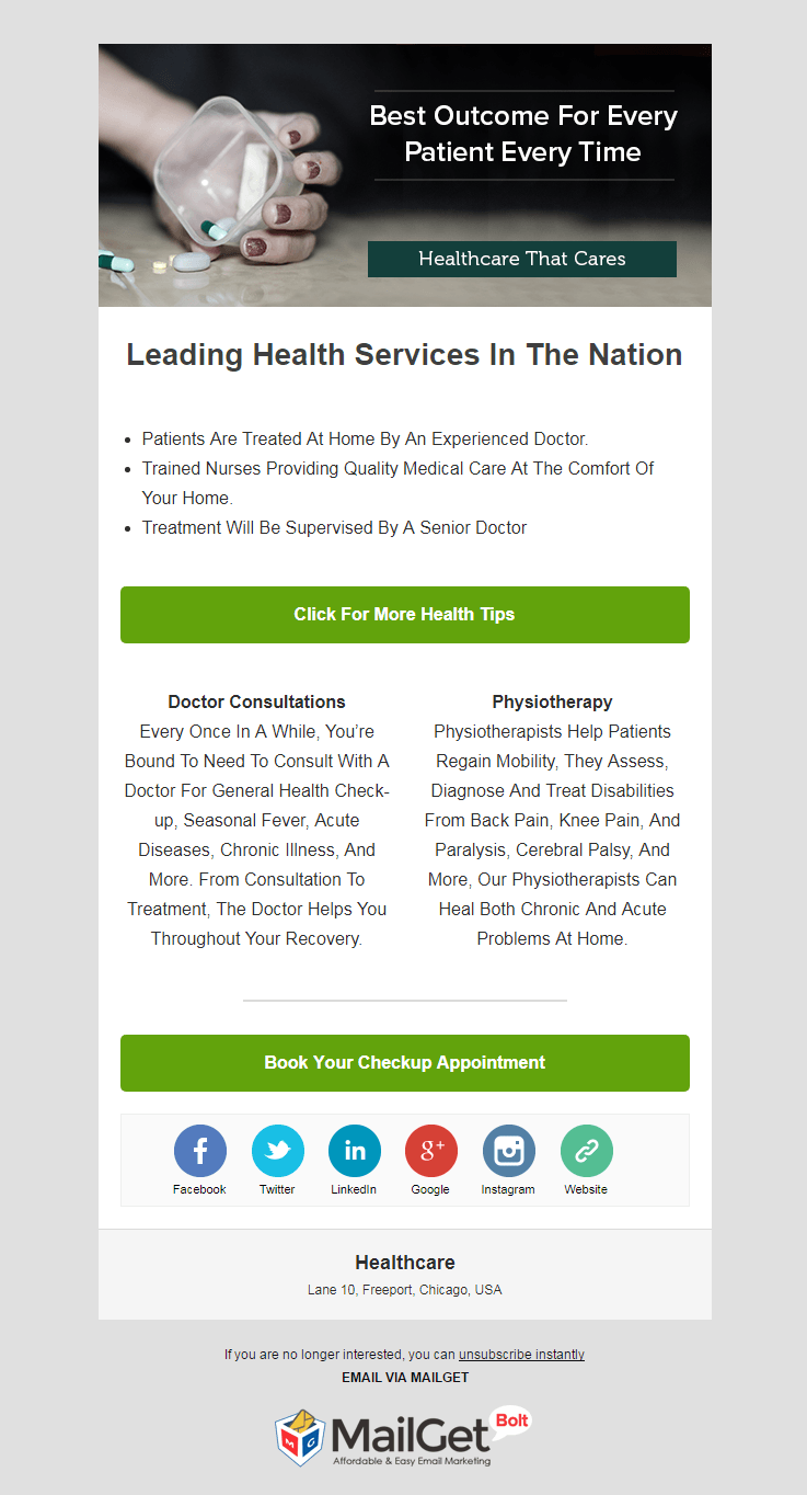 Healthcare Wellness Clinic Email Marketing Service
