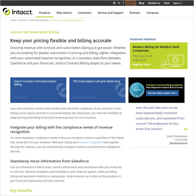 Intacct - Subscription Billing Service Provider